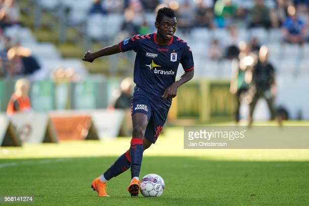 Mustapha Bundu of AGF Arhus in action during the Danish Alka Superliga match between OB Odense and AGF Arhus at EWII Park on May 13 2018 in Odense...