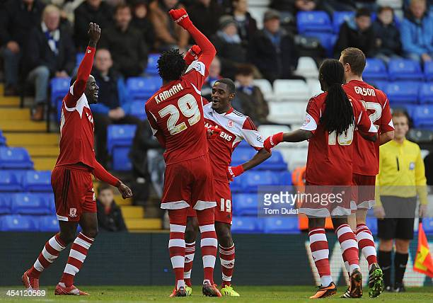 Mustapha Carayol of Middlesbrough celebrates his opening goal during the Sky Bet Championship match between Birmingham City and Middlesbrough at St...