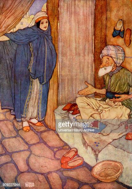 Mustapha doubted much of his ability to refrain from questions Illustration by Edmund Dulac for Ali Baba and the Forty Thieves From The Arabian...