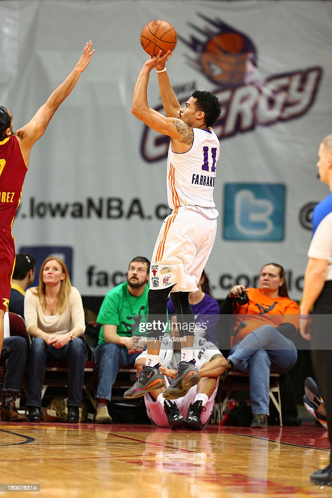 Mustapha Farrakhan #11 of the Iowa Energy shoots a jump shot over Jorge Gutierrez #7 of the Canton Charge in an NBA D-League game on January 25, 2013 at the Wells Fargo Arena in Des Moines, Iowa.
