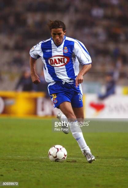 Mustapha Hadji of Espanyol in action against Real Madrid of the Spanish Primera Liga played at the Estadio Olimpico de Montjuic Barcelona 21 Feb 2004...