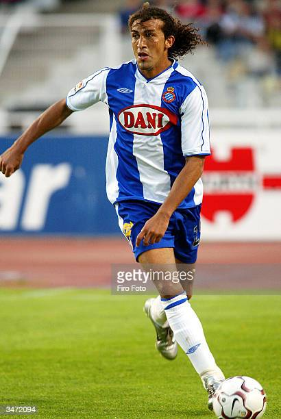 Mustapha Hadji of Espanyol in action during the Primera Liga match between RCD Espanyol and Atletico Madrid at the Estadio Olmpico de Montjuic on...