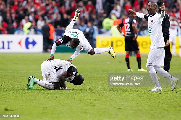 Mustapha Yatabare Ladislas Petre Meyair Douniama and Steeven Langil of EA Guingamp are celebrating their victory of the French Cup Final match...