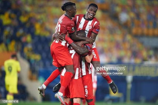 Mustapha Yatabare of Sivasspor celebrates after scoring goal during the UEFA Europa League Group I stage match between Villarreal CF and Sivasspor at...