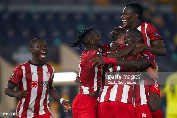 Mustapha Yatabare of Sivasspor celebrates after scoring his team's second goal during the UEFA Europa League Group I stage match between Villarreal...