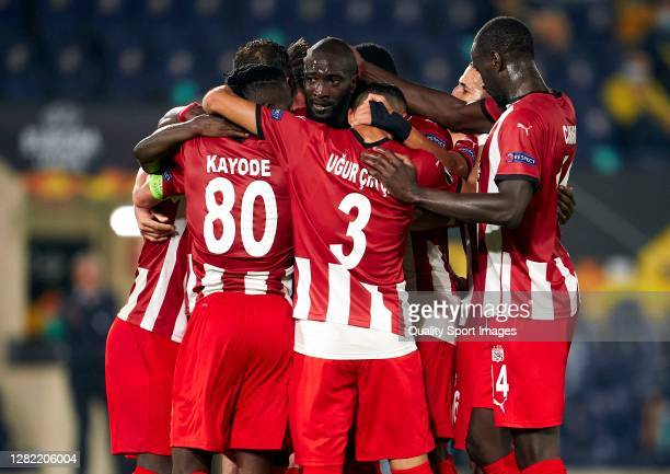 Mustapha Yatabare of Sivasspor celebrates after scoring his team's second goal with his teammates during the UEFA Europa League Group I stage match...