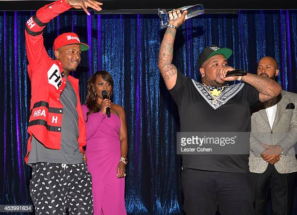 Mustard accepts the Producer of the Year award onstage with recording artist YG BMI Vice President of Writer/Publisher Relations Catherine Brewton...