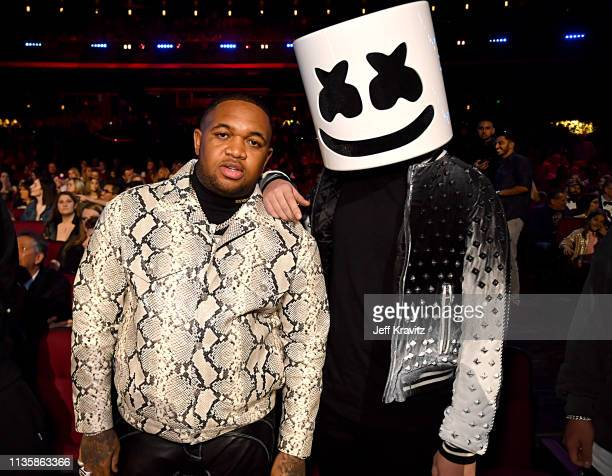 DJ Mustard and Marshmello attend the 2019 iHeartRadio Music Awards which broadcasted live on FOX at the Microsoft Theater on March 14 2019 in Los...
