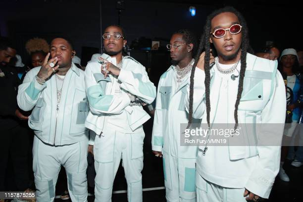Mustard and Quavo, Offset and Takeoff of Migos are seen backstage at the 2019 BET Awards at Microsoft Theater on June 23, 2019 in Los Angeles,...