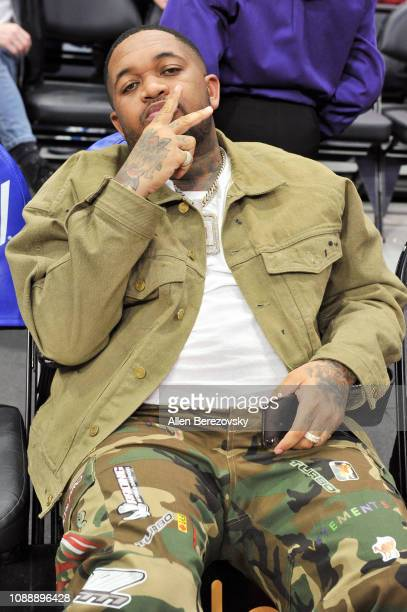 Mustard attends a basketball game between the Los Angeles Clippers and the Philadelphia 76ers at Staples Center on January 01 2019 in Los Angeles...