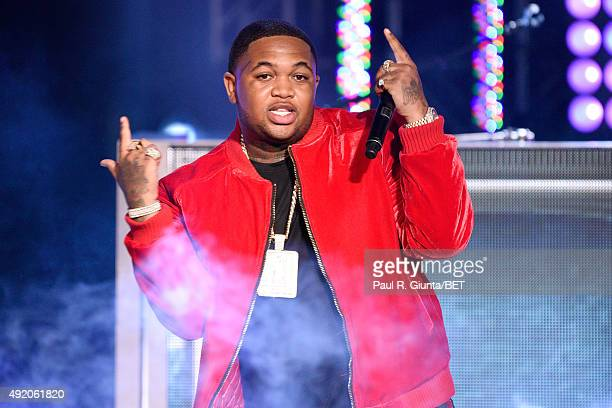 Mustard performs onstage at the BET Hip Hop Awards Show 2015 at the Atlanta Civic Center on October 9 2015 in Atlanta Georgia