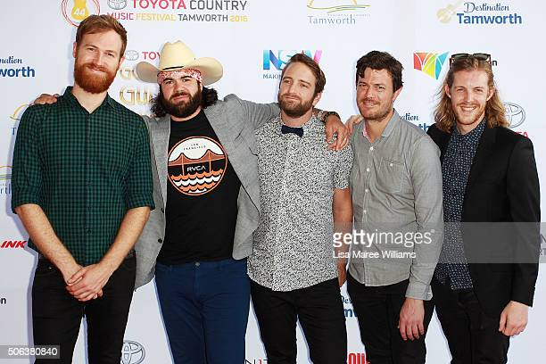 Mustered Courage band arrives at the 44th Golden Guitar Awards on January 23 2016 in Tamworth Australia The Tamworth Country Music Festival is an...