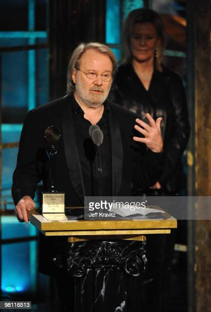 Musucian Benny Andersson of ABBA speaks onstage at the 25th Annual Rock and Roll Hall of Fame Induction Ceremony at the Waldorf=Astoria on March 15...