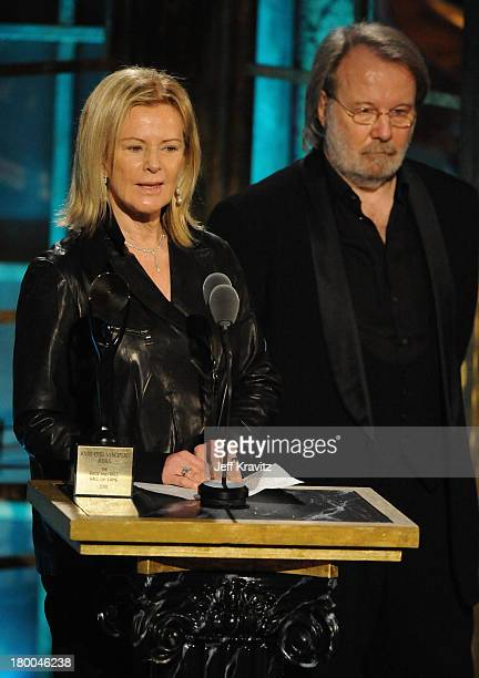 Musucians AnniFrid Prinsessan Reuss and Benny Andersson of ABBA speak onstage at the 25th Annual Rock and Roll Hall of Fame Induction Ceremony at the...