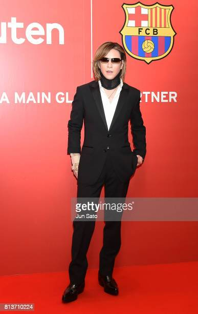Musuician Yoshiki of XJapan arrives at the reception party for Rakuten FC Barcelona Global Partnership Launch on July 13 2017 in Tokyo Japan