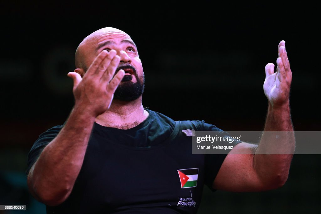 Mutaz Aljuneidi of Jordan celebrates during the Men's Upt to 88Kg Group A Category as part of the World Para Powerlifting Championship Mexico 2017 at Juan de la Barrera Olympic Gymnasium on December 6, 2017 in Mexico City, Mexico.