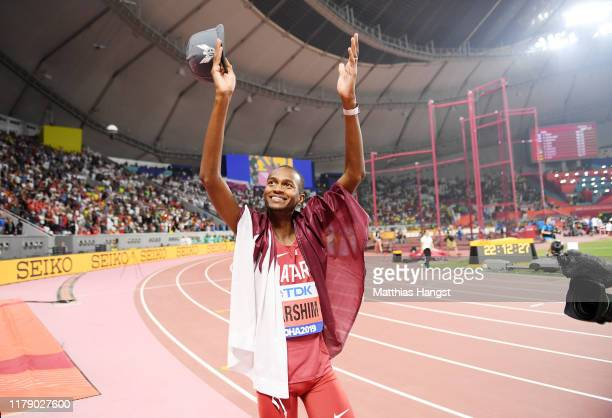 Mutaz Essa Barshim of Qatar celebrates after winning gold in the Men's High Jump final during day eight of 17th IAAF World Athletics Championships...