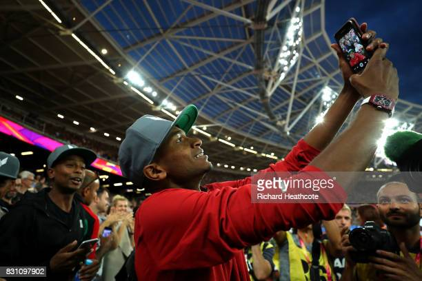 Mutaz Essa Barshim of Qatar celebrates after winning gold in the Men's High Jump final during day ten of the 16th IAAF World Athletics Championships...