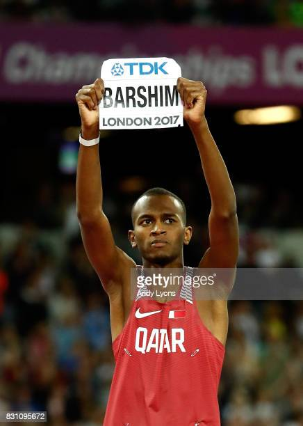 Mutaz Essa Barshim of Qatar celebrates as he competes in the Men's High Jump final during day ten of the 16th IAAF World Athletics Championships...