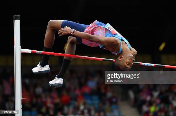 Mutaz Essa Barshim of Qatar competes in the Mens High Jump during the Muller Grand Prix Birmingham meeting on August 20 2017 in Birmingham United...