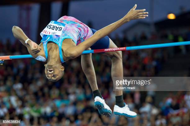 Mutaz Essa Barshim of Qatar competes in the Men's High Jump during the Diamond League Athletics meeting 'Weltklasse' on August 24 2017 at the...