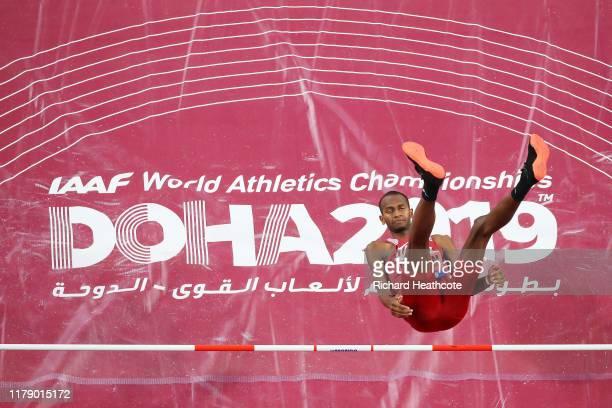 Mutaz Essa Barshim of Qatar competes in the Men's High Jump final during day eight of 17th IAAF World Athletics Championships Doha 2019 at Khalifa...