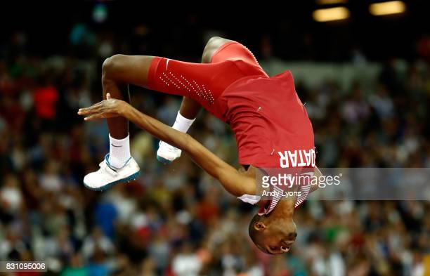 Mutaz Essa Barshim of Qatar competes in the Men's High Jump final during day ten of the 16th IAAF World Athletics Championships London 2017 at The...