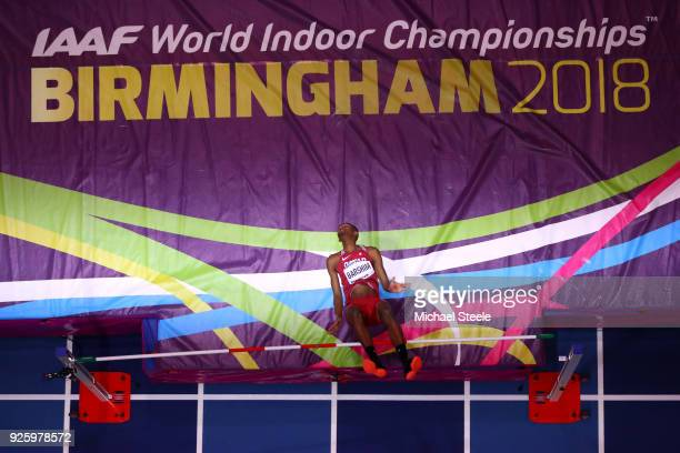 Mutaz Essa Barshim of Qatar competes in the Mens High Jump Final on Day One of the IAAF World Indoor Championships at Arena Birmingham on March 1...