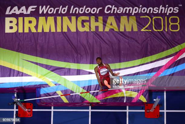 Mutaz Essa Barshim of Qatar fails as he competes in the Mens High Jump Final on Day One of the IAAF World Indoor Championships at Arena Birmingham on...