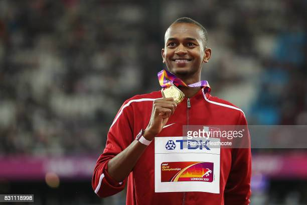 Mutaz Essa Barshim of Qatar, gold, poses with his medal for the Men's High Jump final during day ten of the 16th IAAF World Athletics Championships...