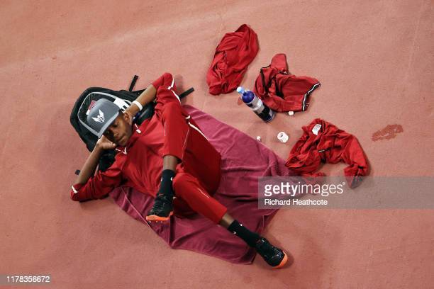 Mutaz Essa Barshim of Qatar looks on during the Men's High Jump qualification during day five of 17th IAAF World Athletics Championships Doha 2019 at...