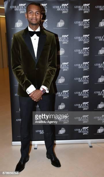 Mutaz Essa Barshim of Qatar poses as he arrives the IAAF Athletics Awards 2017 ceremony in Monaco Monaco on November 24 2017