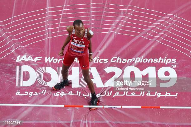Mutaz Essa Barshim of Qatar reacts as he competes in the Men's High Jump final during day eight of 17th IAAF World Athletics Championships Doha 2019...