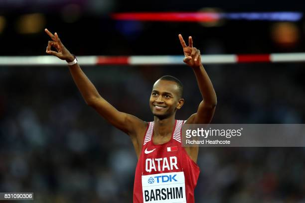 Mutaz Essa Barshim of Qatar reacts as he competes in the Men's High Jump final during day ten of the 16th IAAF World Athletics Championships London...
