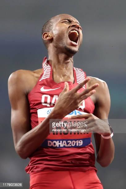 Mutaz Essa Barshim of Qatar reacts in the Men's High Jump final during day eight of 17th IAAF World Athletics Championships Doha 2019 at Khalifa...