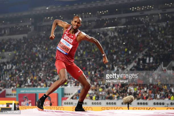 Mutaz Essa Barshim of Qatar reacts in the Men's High Jump final during day eight of 17th IAAF World Athletics Championships Doha 2019 at Khalifa...