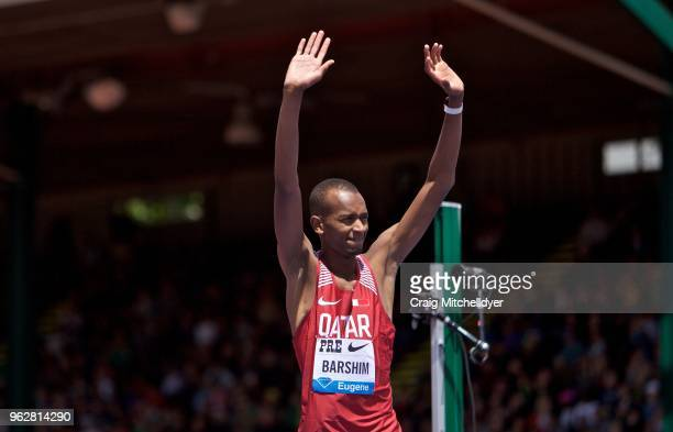 Mutaz Essa Barshim of Qatar waves to the crowd after winning the men's high jump during the 2018 Prefontaine Classic at Hayward Field on May 26 2018...