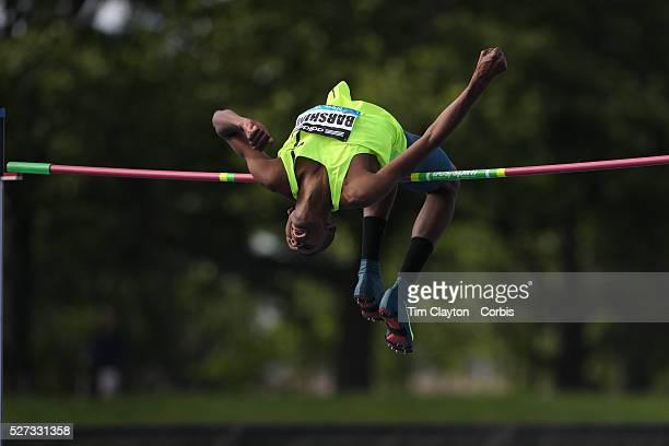 Mutaz Essa Barshim Qatar in action during the Men's High Jump Competition at the Adidas Grand Prix at Icahn Stadium Randall's Island Manhattan New...