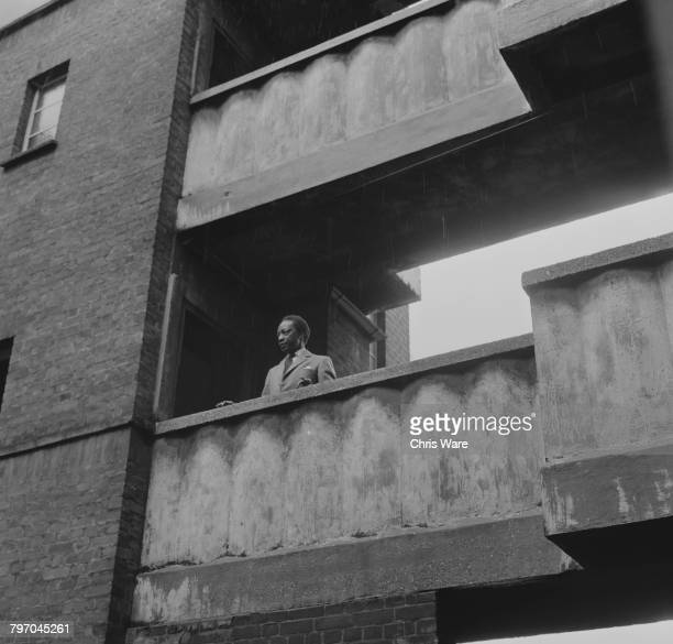 Mutesa II Kabaka of Buganda and deposed President of Uganda at a housing development in Bermondsey London where he is in exile and training to be a...