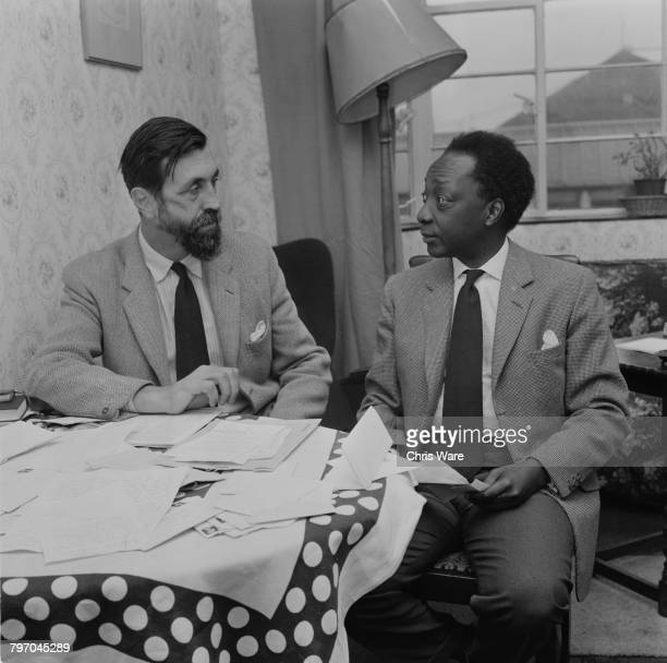 Mutesa II Kabaka of Buganda and deposed President of Uganda discusses plans for his future as a social worker with his old army friend Major Richard...