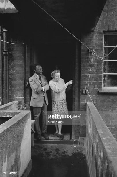 Mutesa II Kabaka of Buganda and deposed President of Uganda talking to a neighbour in Bermondsey London July 1968 The Kabaka is living in exile in...