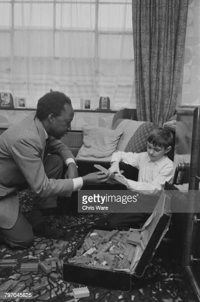 Mutesa II Kabaka of Buganda and deposed President of Uganda visiting David Bowtell at his home in Bermondsey London July 1968 The Kabaka is living in...
