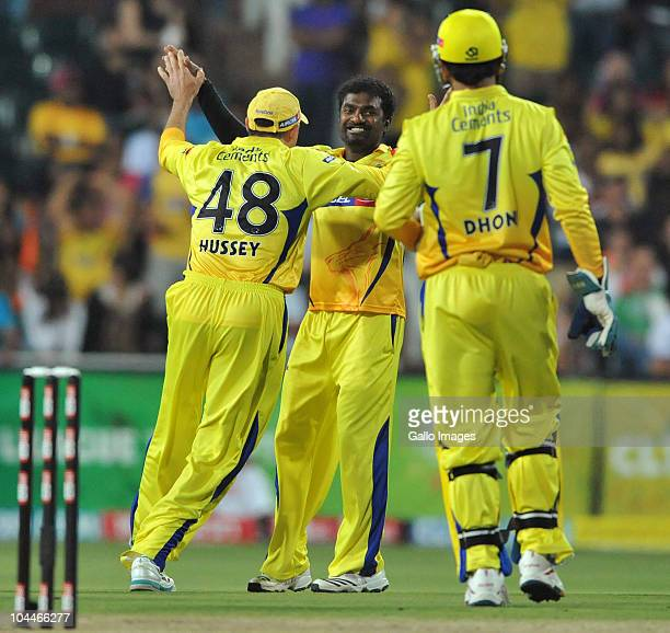 AFRICA SEPTEMBER 26 Muthiah Mararithuran of the Kings celebrates the wicket of Mark Boucher of the Warriors during the 2010 Airtel Champions League...