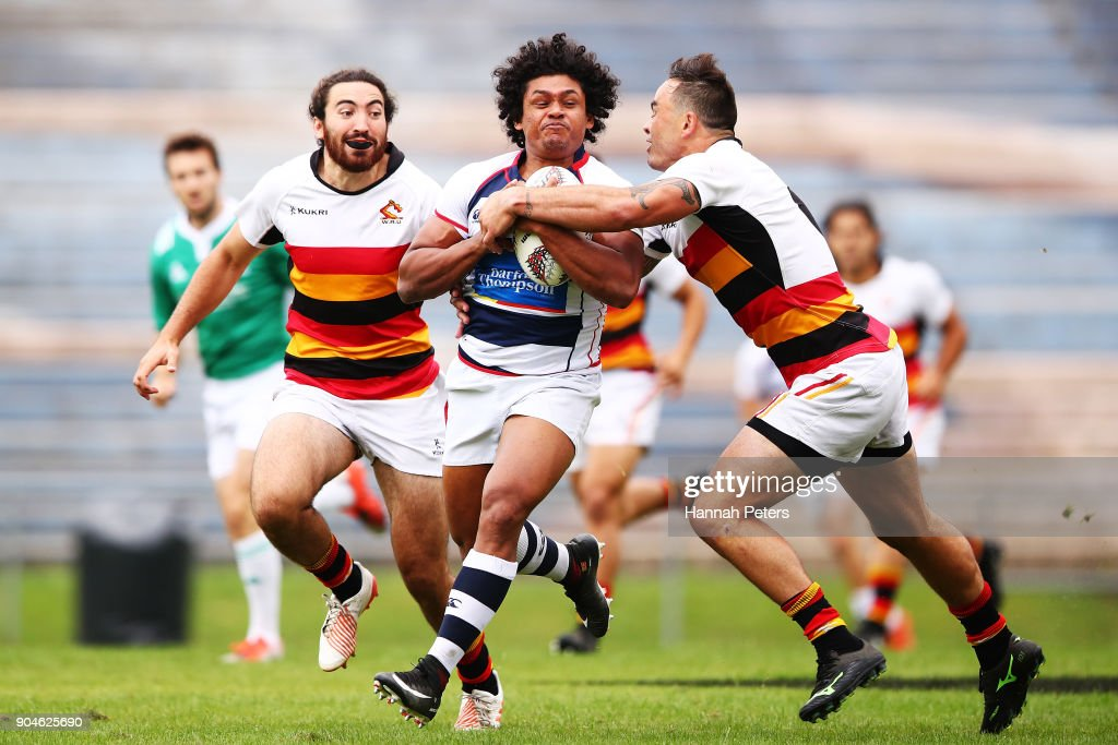 Muthu Sudharshana charges forward during the Bayleys National Sevens qaurter final cup match between Waikato and Auckland at Rotorua International Stadium on January 14, 2018 in Rotorua, New Zealand.