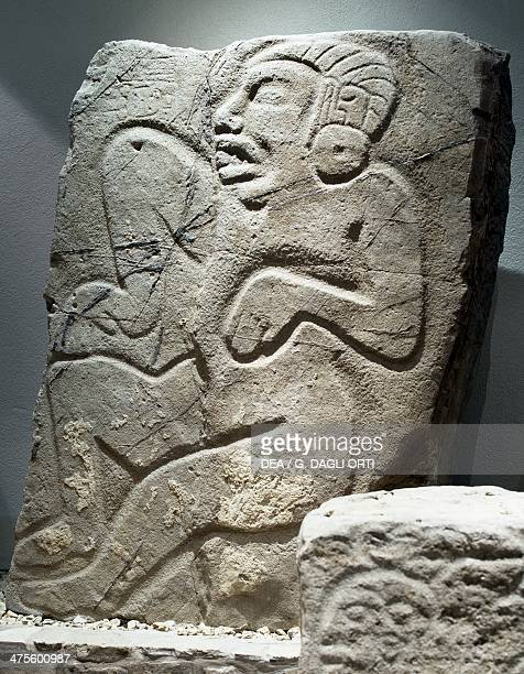 Mutilation of a prisoner's sexual organs from the series of stelae known as Dancing from Monte Alban Mexico Zapotec civilisation 3rd 10th century...
