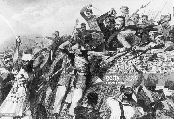 Mutineers attack British troops of the Redan Battery at Lucknow, India, during the Indian Mutiny, 30th July 1857.