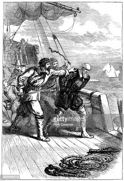 Mutiny on Henry Hudson's ship c1880 English navigator Henry Hudson was set adrift in a boat together with his son and seven others after the crew of...