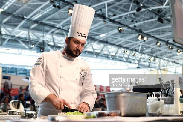 Mutlu Sevket Yilmaz of Turkey cooks during the Europe 2018 Bocuse d'Or International culinary competition Best ten teams will access to the world...