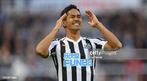Muto of Newcastle reacts during the Premier League match between Newcastle United and Leicester City at St James Park on September 29 2018 in...