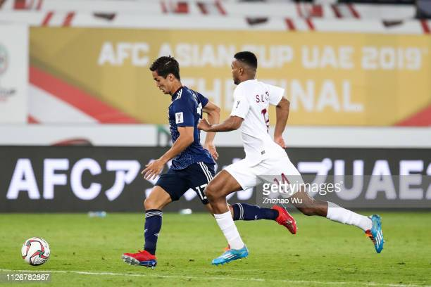 Muto Yoshinori of Japan in action during the AFC Asian Cup final match between Japan and Qatar at Zayed Sports City Stadium on February 01 2019 in...